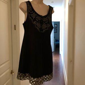 FREE PEOPLE BLACK & GOLD sleeveless dress